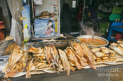 Keith Richards - Fried Fish Stall In Korea Busan Market by Tuimages