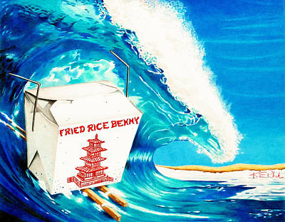 Surfing Art Drawing - Fried Rice Benny by Karen Rhodes