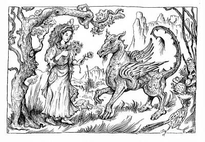 Roadrunner Drawing - Friending A Dragon by Theresa Taylor Bayer