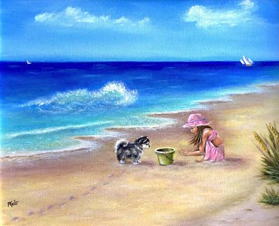Little Girl On Beach Wall Art - Painting - Friendly Encounter by Dr Pat Gehr