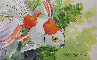 Friendly Fantail Tiny Goldfish Painting Original by Tracie Thompson
