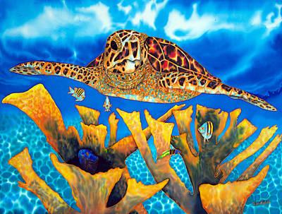 Friendly Hawksbill Sea Turtle Art Print