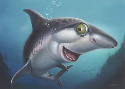 friendly Shark Blank Greeting Card Art Print by Walt Curlee