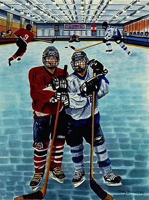 Ice Hockey Painting - Friends And Foes by Joy Bradley