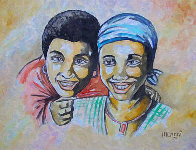 Caring Friend Drawing - Friends by Anthony Mwangi