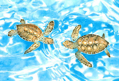 Painting - Friends Baby Sea Turtles by Pauline Walsh Jacobson