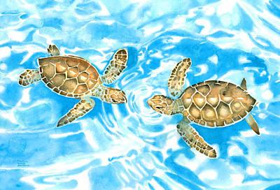 Friends Baby Sea Turtles Art Print
