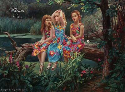 Cao Yong Painting - Friends by Cao Yong