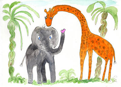 Friends - Elephoot And Elliot Art Print by Helen Holden-Gladsky