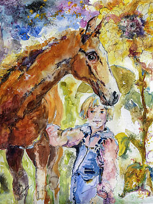 Painting - Friends For Life Horses And Girls by Ginette Callaway