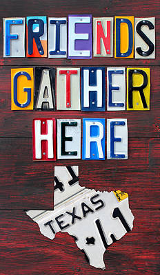 Signed Mixed Media - Friends Gather Here Recycled License Plate Art Wall Decor Lettering Sign Texas Version by Design Turnpike