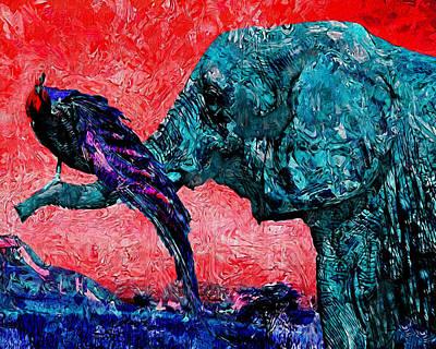 Elephants Digital Art - Friends by Jack Zulli