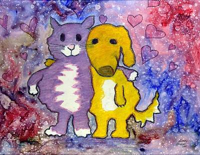 Art Print featuring the mixed media Friends by Kenny Henson