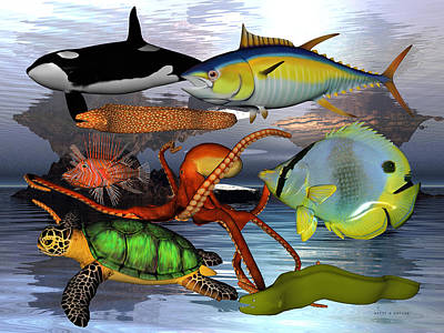 Turtle Digital Art - Friends Of The Sea by Betsy Knapp
