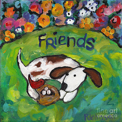 Dog Painting - Friends by Peggy Johnson