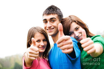 Smiling Photograph - Friends Showing Thumb Up Sign by Michal Bednarek
