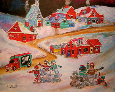 Quebecois House Painting - Friend's Snowball Fight Montreal Memories by Michael Litvack
