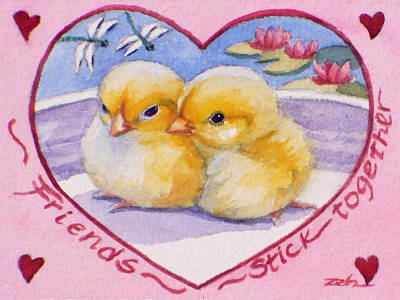 Painting - Friends Stick Together Valentine by Janet Zeh