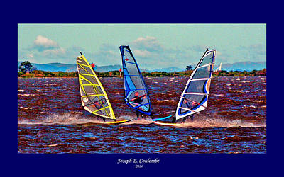 Digital Art - Friends Windsurfing by Joseph Coulombe