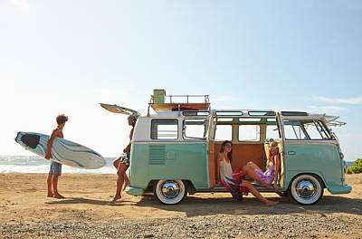 Friends With Van Relaxing On Beach Art Print by Colin Anderson Productions Pty Ltd