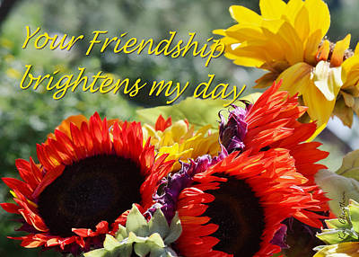 Sunflower Mixed Media - Friendship Flowers by Kae Cheatham