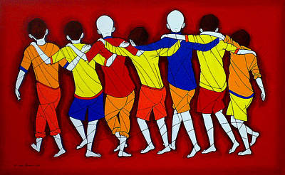 Indian Tribal Art Painting - Friendship by Jiaur Rahman