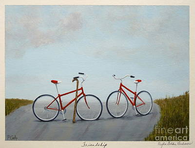 Two Bicycles Painting - Friendship by Phyllis Andrews