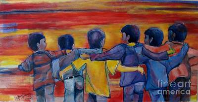 Painting - Friendship Walk - Children by Grace Liberator