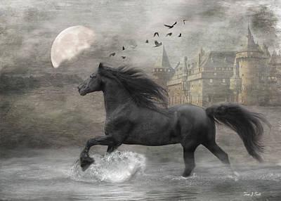 Black Horses Digital Art - Friesian Fantasy by Fran J Scott