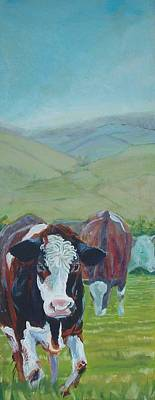 Painting - Friesian Holstein Cows by Mike Jory