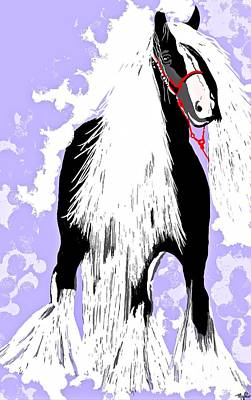 Painting - Friesian Horse Black And White by Saundra Myles