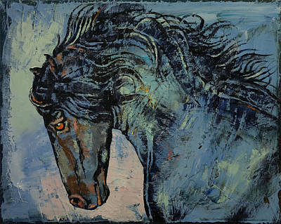 Friesian Painting - Friesian Stallion by Michael Creese