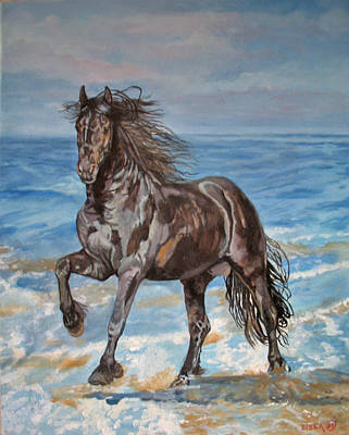 Friesian Horse On Beach Print by Linda Elsea