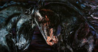 Painting - Friesian Horses by Jana Fox