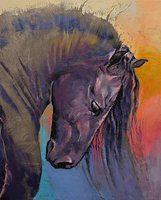 Black Friesian Painting - Friesian by Michael Creese