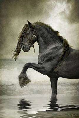 Black Horse Digital Art - Friesian Surf  by Fran J Scott