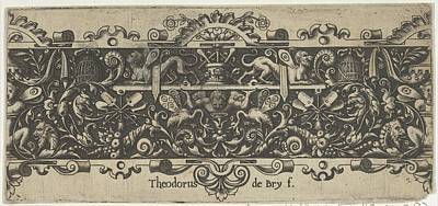 Theodor De Bry Drawing - Frieze With A Putto Holding A Platform by Theodor de Bry