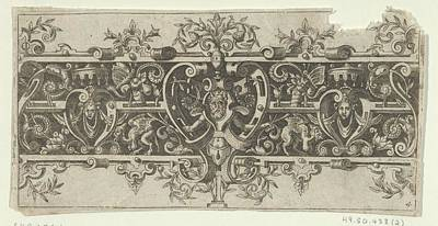 Theodor De Bry Drawing - Frieze With Grotesques And A Horned by Theodor de Bry