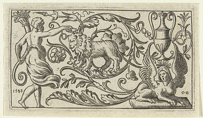 Cornucopia Drawing - Frieze With Lion, Anonymous by Anonymous