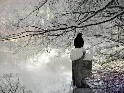 Black Crow On A Frigid Day Art Print
