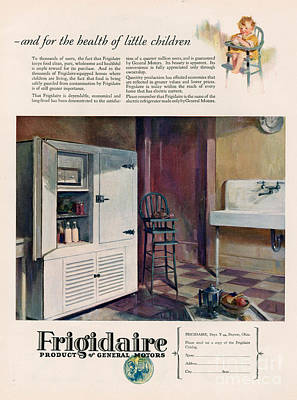 Nineteen Twenties Drawing - Frigidaire 1926 1920s Usa Cc Fridges by The Advertising Archives