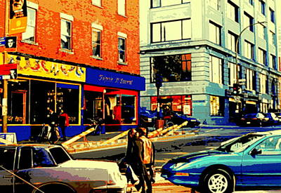Friperie St.laurent Clothing Variety Dress Shop Downtown Corner Store City Scene Montreal Art Print by Carole Spandau