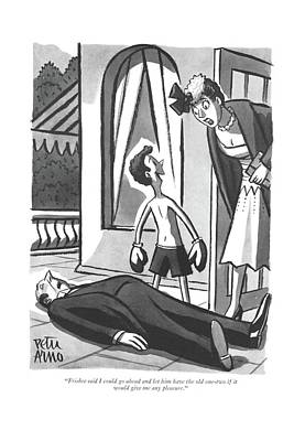 Drawing - Frisbee Said I Could Go Ahead And Let by Peter Arno