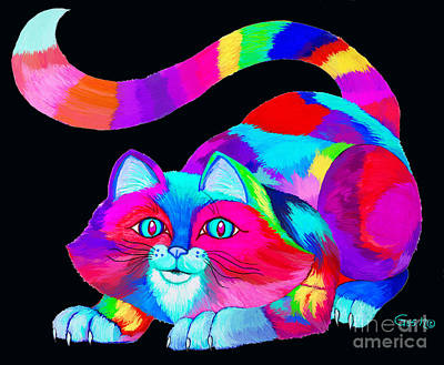 Animals Drawings - Frisky colorful Cat 2 by Nick Gustafson