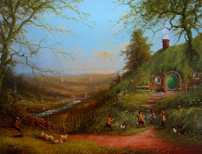 The Shire Painting - Frodo's Inheritance Bag End by Joe  Gilronan