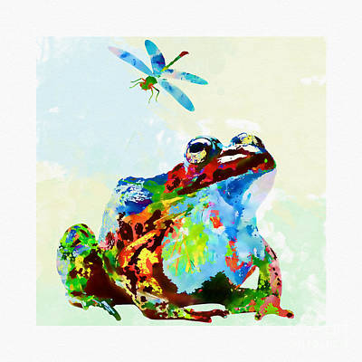 Mixed Media - Frog And Dragonfly by Olga Hamilton
