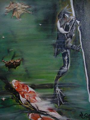 Wall Art - Painting - Frog And Koi by Ralf Glasz