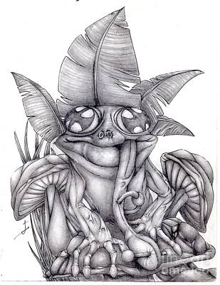 Rain Forest Animals Drawing - Frog At Home by Joseph Onescu