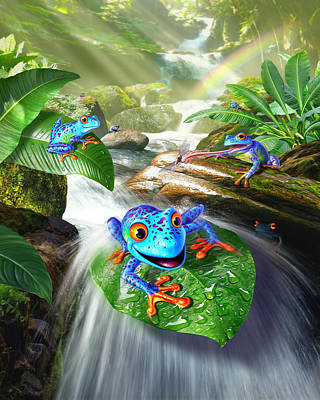Waterfall Digital Art - Frog Capades by Jerry LoFaro