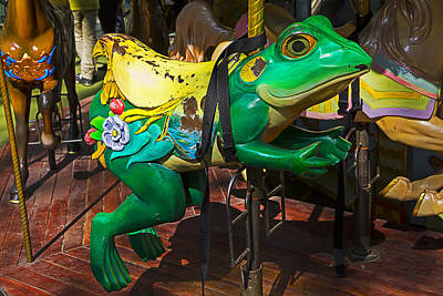 Amusing Photograph - Frog Carrousel Ride by Garry Gay